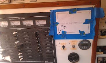 Photo: to avoid too much dust in the electrical panel, I wanted to cut the hole from the rear.  I used one template to locate the placement on the front of the panel.  Once in place I drilled out two of the mounting screw holes.