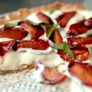 Nectarine and Basil-Infused Shortbread Tart