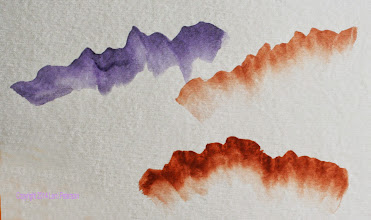 Photo: Watercolor - Using an angled brush. Color is on the tip only.