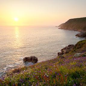 Porth Nanven Sunset by Chris Sargent - Landscapes Waterscapes ( porth nanven, pwcsummer, hdr, sunset, cornwall )