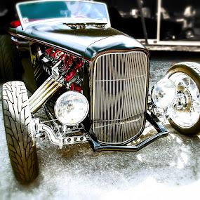 Bad Black by Boyd Smith - Transportation Automobiles ( chopped, black car, hot rod, custom car, dodge v-10 )