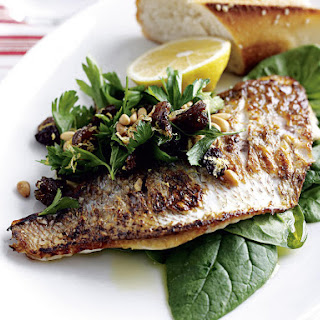 Pan Fried Snapper with Lemon and Spinach Salad