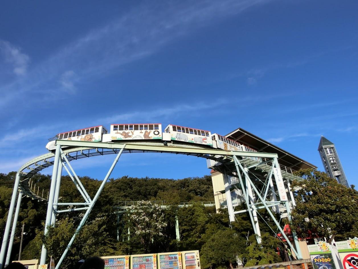 東山スカイタワーと園内を走るモノレール