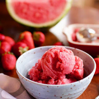 Watermelon Strawberry Sorbet For One.