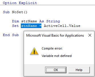Error from using Set for a varible