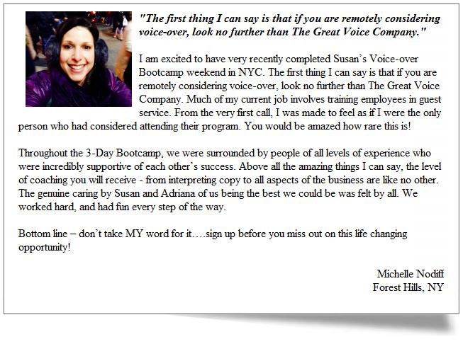 Great Voice Testimonial - Michelle Nodiff