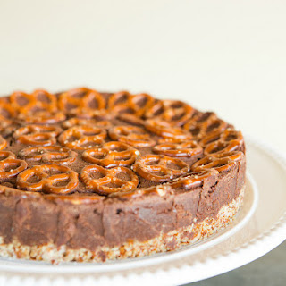 Salted Dark Chocolate Pretzel Truffle Cake