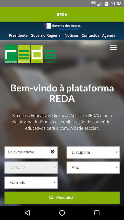 REDA - Recursos Educativos– captura de ecrã