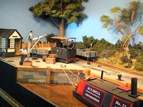 Photo: 023 Tram loco No.4 shunts some wagons at Hook Basin .