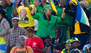 ANC members at the Tafel-Lager Stadium in Kimberley, Northern Cape Province where president Cyril Ramaphosa delivered the party's January 8 statement on January 11 2020.