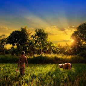 The Farmers by Ketut Manik - Landscapes Prairies, Meadows & Fields