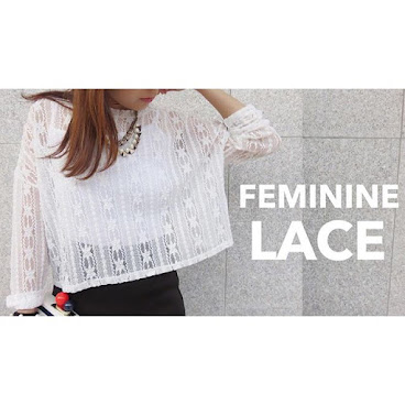 Round-neck Geometric Lace Top