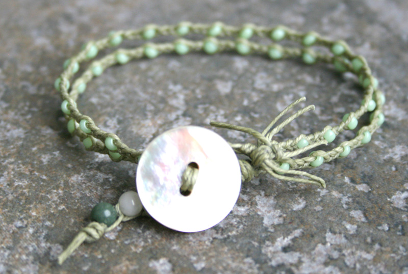 Photo: Mother Of Pearl Button Bracelet in Mint and Sage- Available on #Etsy here http://www.etsy.com/listing/101708488/beach-jewelry-mint-green-sage-shell  #handmade #handmadejewelry #beachjewelry