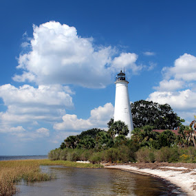 St. Marks Lighthouse by Bill Bettilyon - Buildings & Architecture Public & Historical ( smnwr, florida, light house, lighthouse, gulf of mexico, st. marks national wildlife refuge,  )