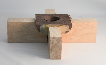 "Photo: Gary Guenther 4 3/4"" x 2"" Mark Gardner style: multi-axis bowl from class, still hot glued in jig [walnut]"