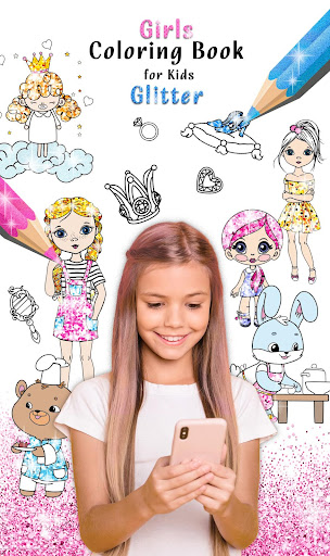 Girls Coloring Book for Kids Glitter apkpoly screenshots 1