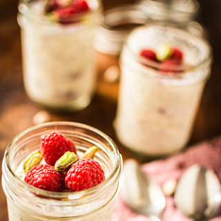 Raspberry, Pistachio and Cardamom Overnight Oats.