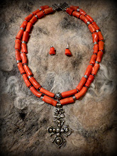 Photo: # 210 GIFTS OF LOVE/AMNESTY ~ ДАРИ ЛЮБОВІ/ПРОЩЕННЯ  - silver Coptic cross, coral, silver plate   N/A gifted