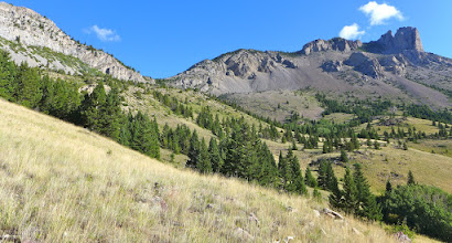 """Photo: View from the western edge of Wagner Basin - That feature on the right is """"the castle"""" - We climbed up the pass (left of center), around the castle, and then onto the false summit and eventually, the true summit."""