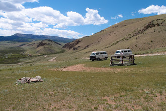 "Photo: Behind is the confluence of the N fork of Saguache Creek with the Middle Fork.  There is a forest service facility there and a camp ground.  An old topo map identifies it as a ""guard station"" but now I think the ranchers who have grazing permits use it."