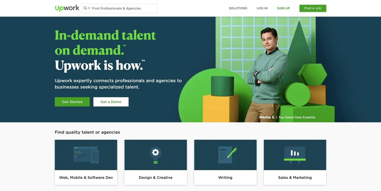 upwork's home page