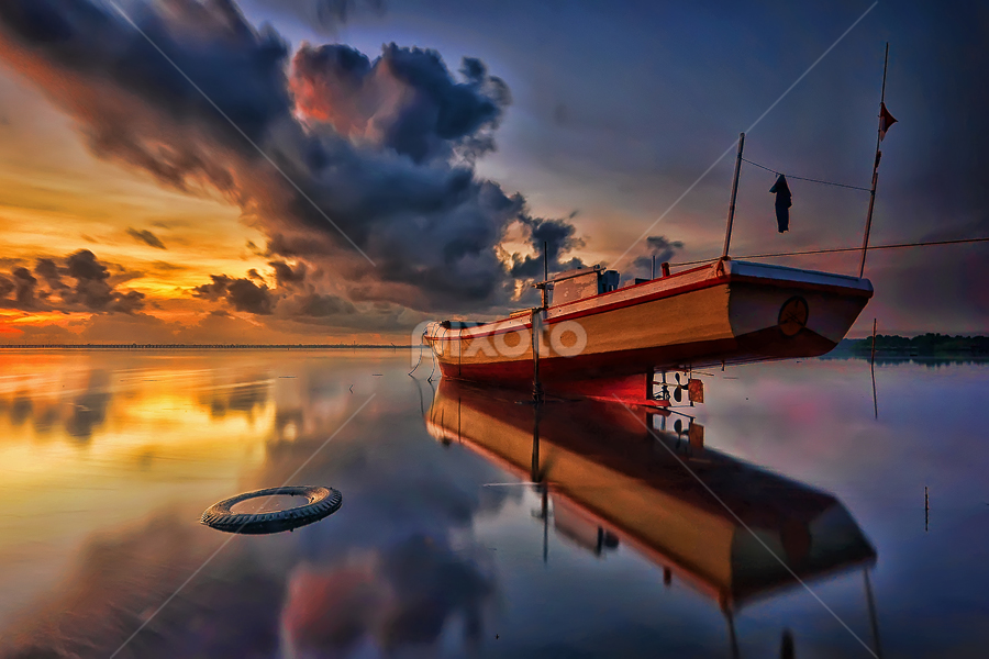 Morning Reflection by Hendri Suhandi - Landscapes Sunsets & Sunrises ( bali, tuban, sunset, cloud, long exposure, sunrise, boat, landscape, sun )