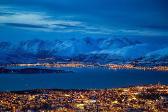Photo: Tromsø, a Northern Norwegian city, in twilight