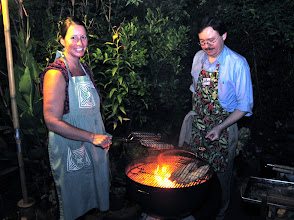 Photo: Kristie and Jefferson grilling catfish fillets