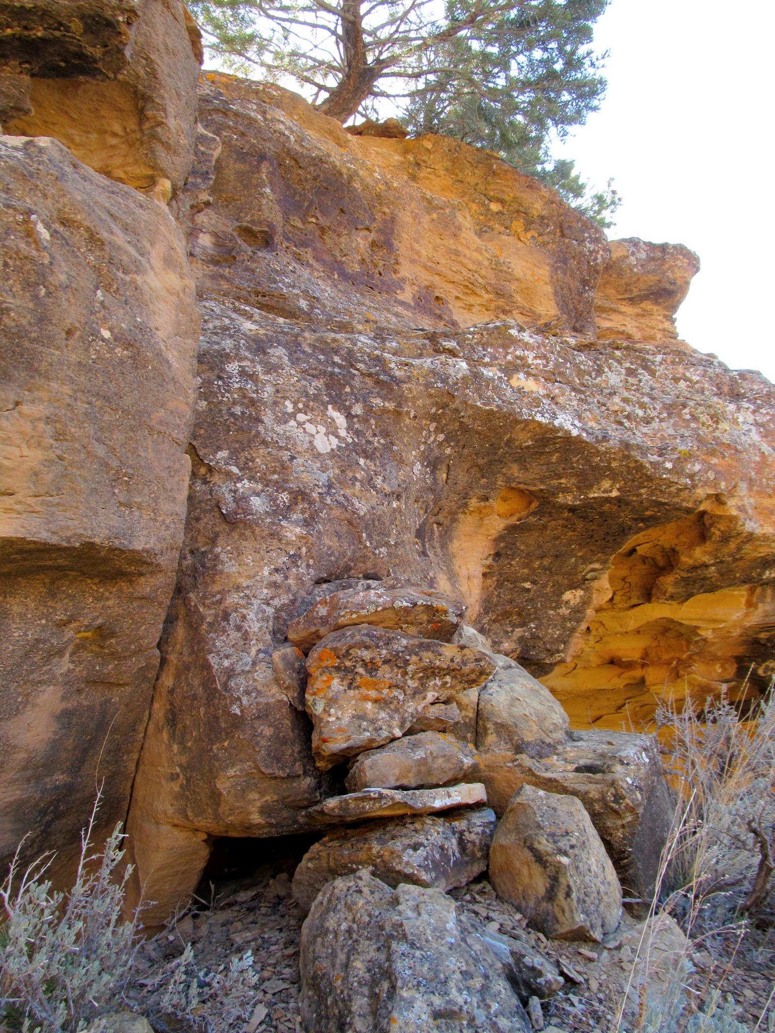 Photo: Rocks stacked to aid the climb