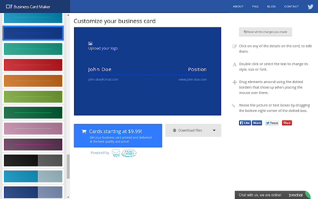 Business card maker chrome web store easily create your own free business cards in seconds using high quality professional designs colourmoves