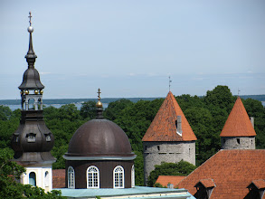 Photo: From city wall - towers, Lutheran spire (left) and Orthodox dome