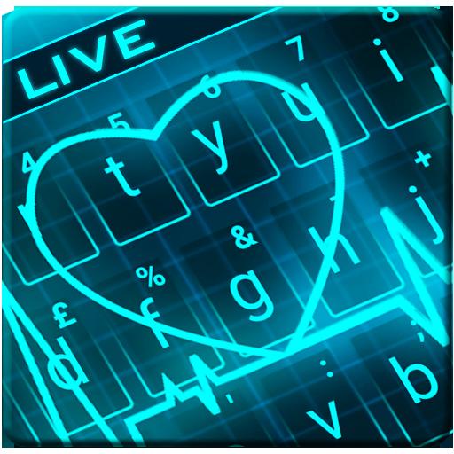 Animated Neon Heart Keyboard Theme Icon