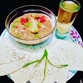 Eatz by Carlo McCoy - Food & Drink Plated Food ( blacktino, appetizers, paper plate, dips, latino dishes, green onions, rum, black cooks, bean, salsa, herbs, shot glass,  )