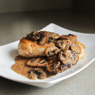 Chicken in a Grainy Dijon and Cremini Mushroom Sauce.