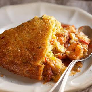 Confetti Corn Bread–Crusted Shrimp in Creole Filling.