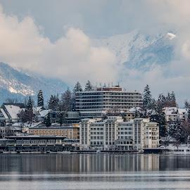 by Mario Horvat - City,  Street & Park  Vistas ( water, lake, travel, jezero, island, sneg, winter, touristic, slovenija, slovenia, snow, bled, hotel )