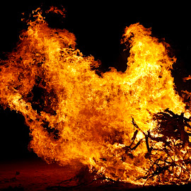 Another Fallen Horse and Cowboy? by Savannah Eubanks - Abstract Fire & Fireworks ( cowboy, horse, night, fire, flames )