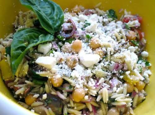 """Click Here for Recipe: Orzo Salad """"My (very hard to please) husband..."""