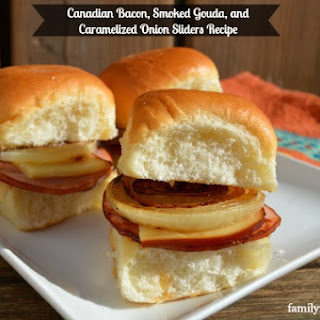 Canadian Bacon, Smoked Gouda, and Caramelized Onion Sliders.