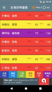 台灣即時霾害 Taiwan PM2.5, PM10, AQI  螢幕截圖 2