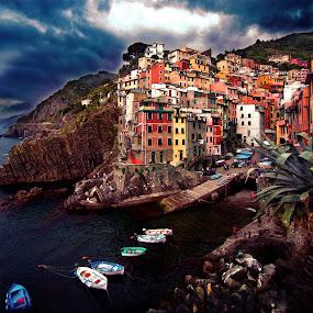 Riomaggiore  by Piotr Owczarzak - City,  Street & Park  Vistas ( mountains, cinque terre, sky, hdr, bay, liguria, buildings, sea, house, boat, italy,  )