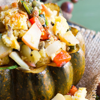 Spiced Acorn Squash with Charred Poblano Pepper - Cornbread Stuffing