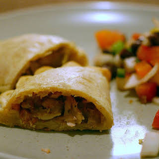 Chicken Empanada with Chorizo and Olives.