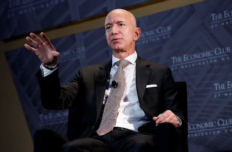 Jeff Bezos, president and CEO of Amazon and owner of The Washington Post, speaks at the Economic Club of Washington DC's Milestone Celebration Dinner in Washington, US, on September 13 2018. Picture: REUTERS/JOSHUA ROBERTS