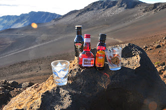 Photo: Ingredients for a volcano-summit B52 (for John and Vik).
