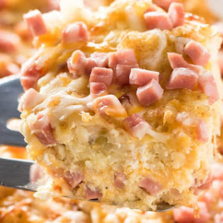 Tater Tot Ham and Cheese Breakfast Casserole.