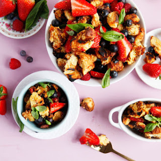 Triple Berry Dessert Panzanella With Honey Balsamic Reduction