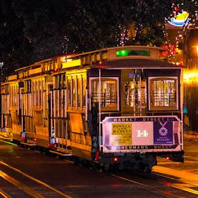 Tram in SF by Pravine Chester - Transportation Other ( tram, san francisco, tracks, transportation, train )