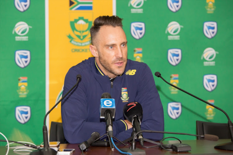 South Africa's captain Faf du Plessis during a press conference at Cape Town International Airport Media Centre on July 01, 2018 in Cape Town, South Africa.