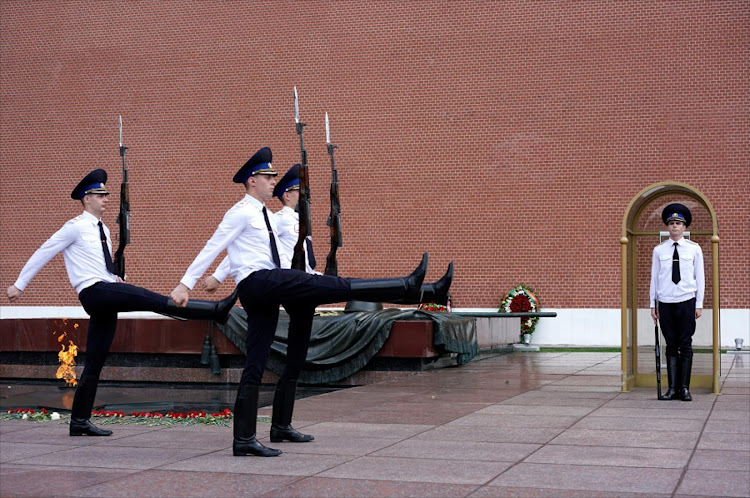 Guards at the Kremlin in Moscow, Russia. Picture: REUTERS/MAXIM ZMEYEV